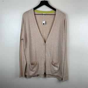 GAP NWT Tan V-neck Cardigan Medium Silk Blend